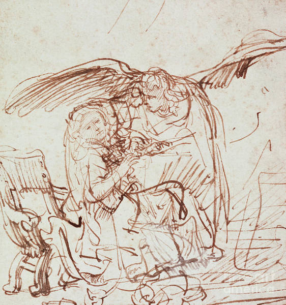 Wings Drawing - Annunciation  by Rembrandt Harmenszoon van Rijn
