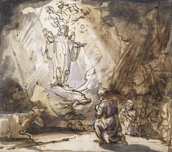 Herd Drawing - Annunciation To The Shepherds by Rembrandt