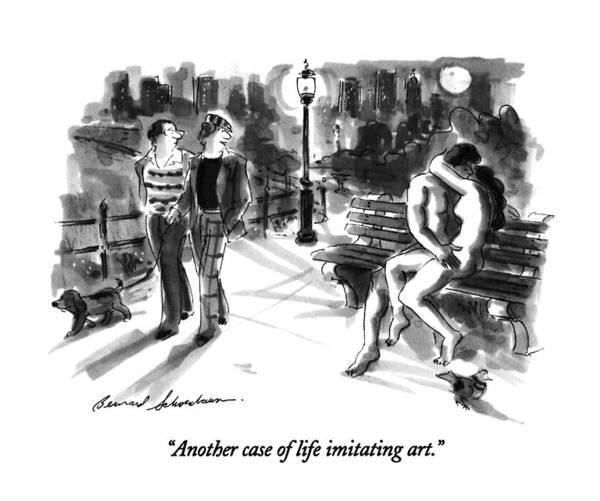 Kiss Drawing - Another Case Of Life Imitating Art by Bernard Schoenbaum