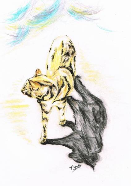 Nerves Drawing - Another Cat Following by Teresa White