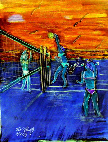 Volley Painting - Another Oreilly Original Painting 50 Shades Of Spiking  On Air Illusionist  Air Miller Walking On Ai by Tim OReilly