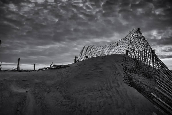 Photograph - Another Sandy Fence In Black And White by Tom Singleton