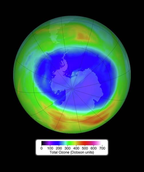 Ozone Layer Photograph - Antarctic Ozone Concentrations by Nasa