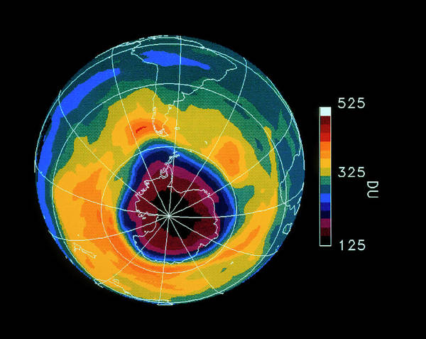 Ozone Layer Photograph - Antarctic Ozone Hole October 1990 by Nasa/science Photo Library