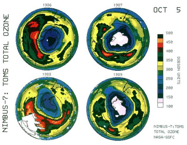 Ozone Layer Photograph - Antarctic Ozone Hole: Toms Comparison 1986-89 by Nasa/science Photo Library
