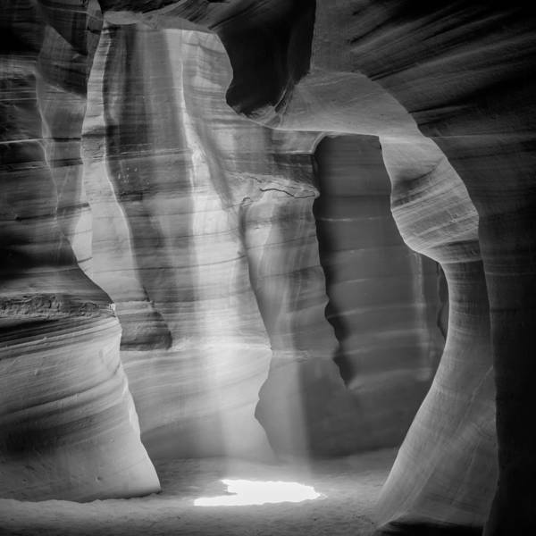 Geologic Formation Photograph - Antelope Canyon Lightbeam Bw II by Melanie Viola