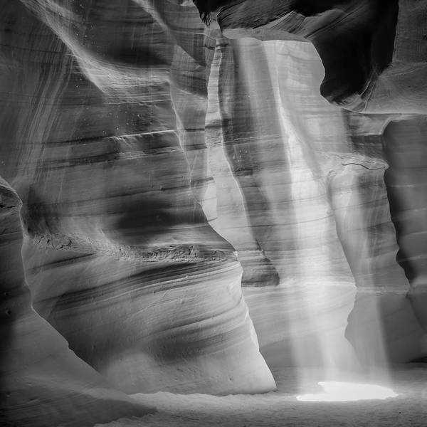 Geologic Formation Photograph - Antelope Canyon Lightbeam Bw by Melanie Viola