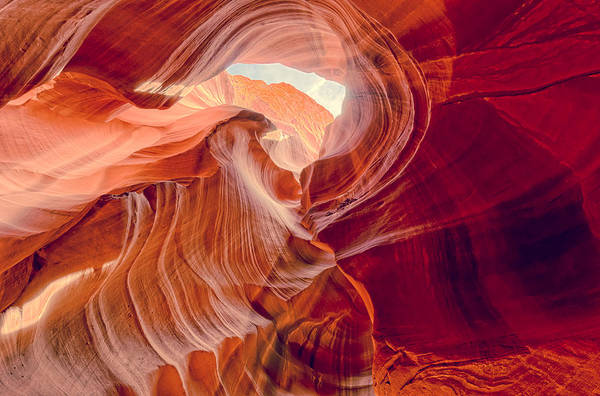 Beam Of Light Photograph - Antelope Canyon Navajo Nation Page Arizona Weeping Warrior by Silvio Ligutti