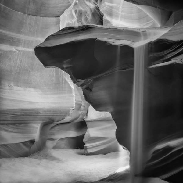 Geologic Formation Photograph - Antelope Canyon Pouring Sand Bw by Melanie Viola