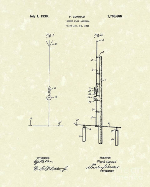 Drawing - Antenna 1930 Patent Art by Prior Art Design