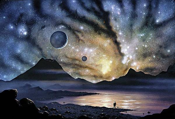 Interacting Galaxies Wall Art - Photograph - Antenna Galaxies Seen From A Planet by David A. Hardy/science Photo Library