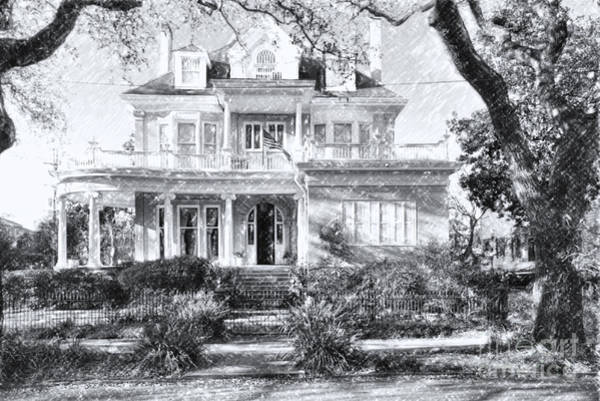 Charles Mansion Photograph - Anthemion At 4631 St Charles Ave. New Orleans Sketch by Kathleen K Parker