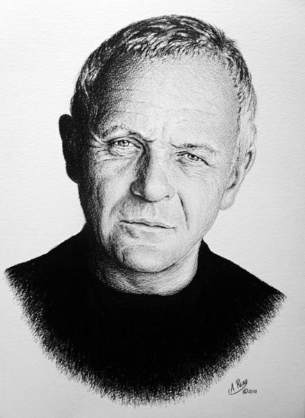 Famous People Drawing - Anthony Hopkins by Andrew Read