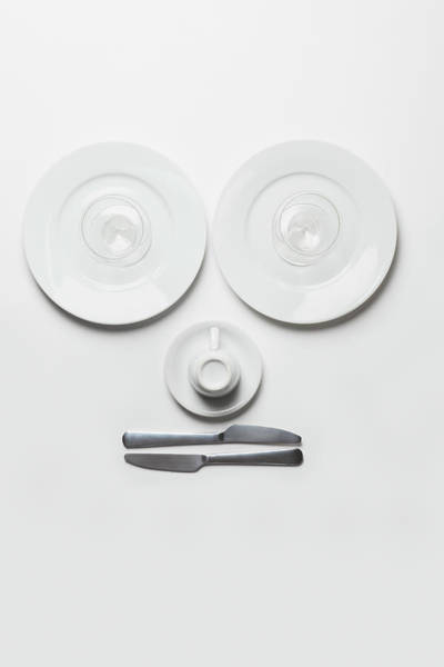 Setting Photograph - Anthropomorphic Face Made From Plates by Larry Washburn