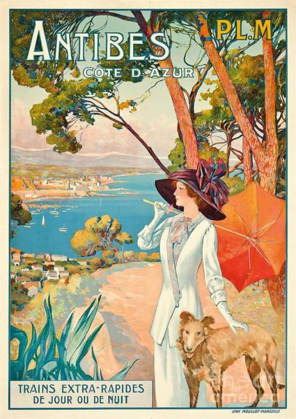 Azure Painting - Antibes Vintage Travel Poster by David Dellepiane