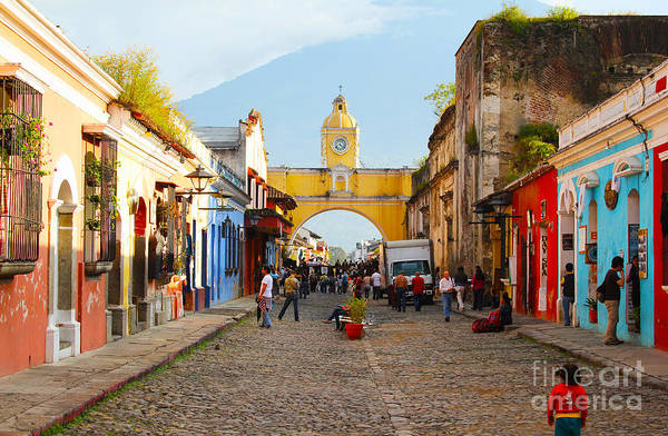 Neighborhood Photograph - Antigua Guatemala Clock by Carey Chen