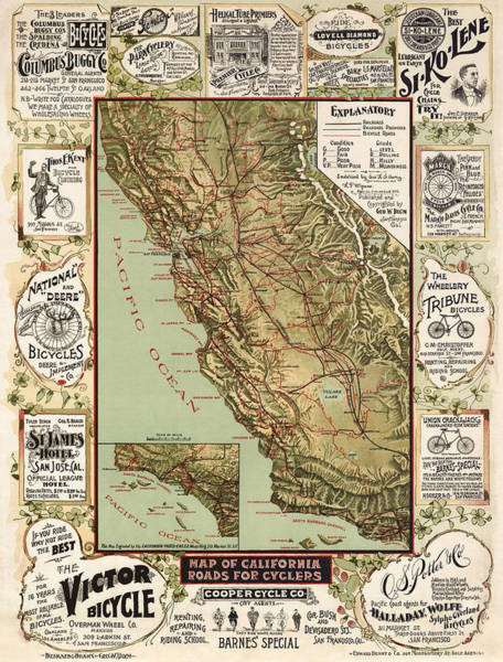 Old West Drawing - Antique Bicycle Map Of California By George W. Blum - 1895 by Blue Monocle
