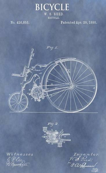 Drawing - Antique Bicycle Patent 1890 by Dan Sproul