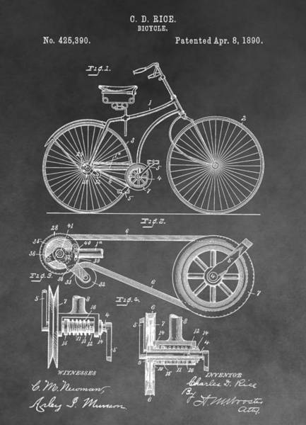 Drawing - Antique Bicycle Patent Black And White by Dan Sproul