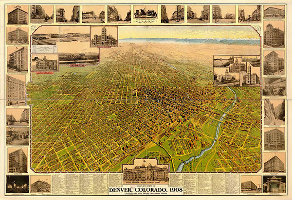 Collectible Art Drawing - Antique Bird's-eye View Map Of Denver 1908 by Mountain Dreams
