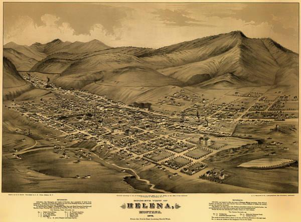 Montana Drawing - Antique Bird's-eye View Map Of Helena Montana 1875 by Mountain Dreams