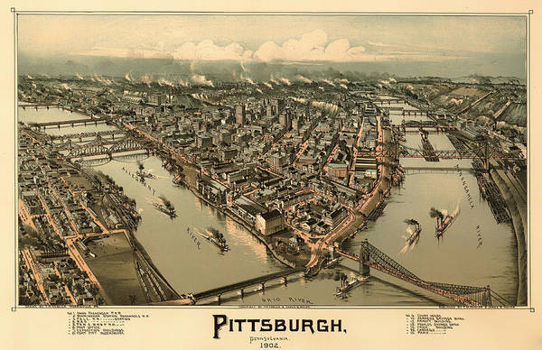 Collectible Art Drawing - Antique Bird's-eye View Map Of Pittsburgh 1902 by Mountain Dreams