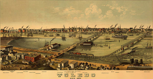 Ohio River Drawing - Antique Bird's-eye View Map Of Toledo Ohio 1876 by Mountain Dreams