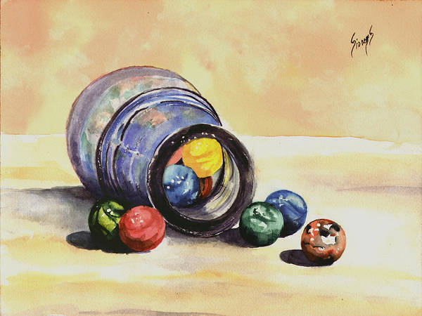 Colored Glass Painting - Antique Bottle With Marbles by Sam Sidders