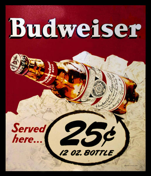 Wall Art - Photograph - Antique Budweiser Signage by Thomas Woolworth