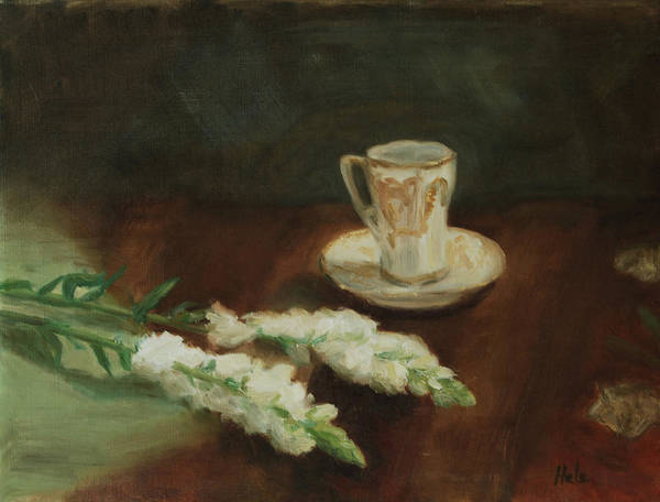 Snapdragons Painting - Antique Chocolate Cup by Sonia Hale