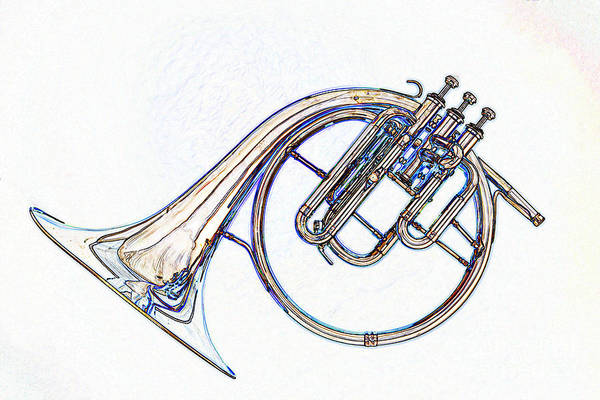 Photograph - Antique Classic French Horn Color Drawing 3022.05 by M K Miller