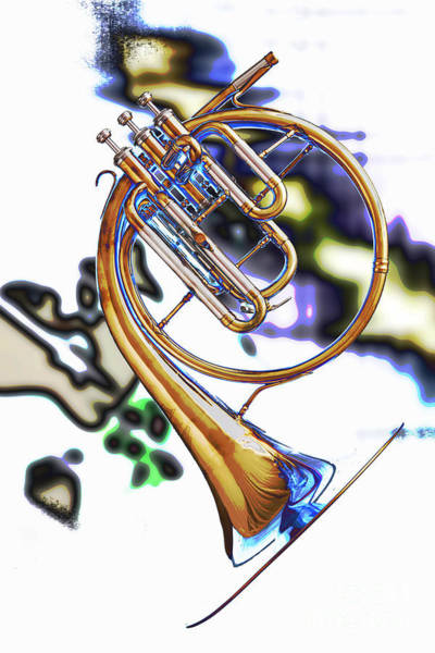 Photograph - Antique Classic French Horn Color Print 3209.02 by M K Miller