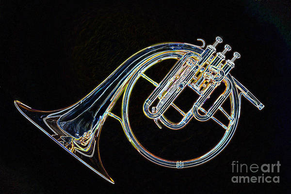 Photograph - Antique Classic French Horn Dark Drawing 3022.04 by M K Miller