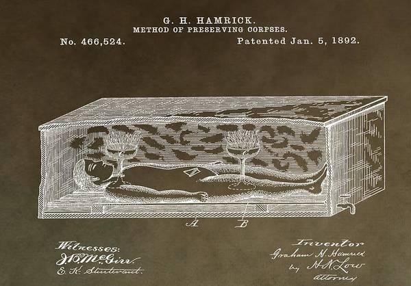 Mixed Media - Antique Coffin Patent by Dan Sproul