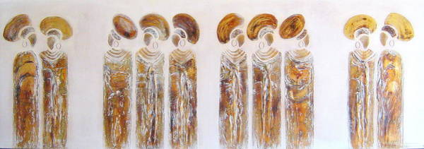 Painting - Antique Copper Zulu Ladies - Original Artwork by Tracey Armstrong