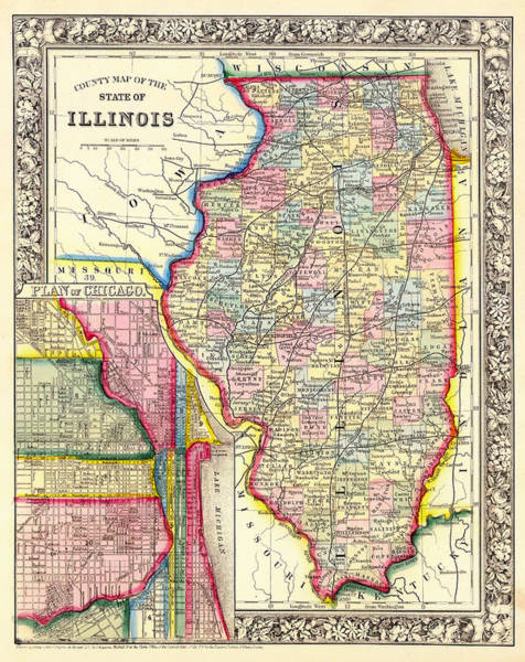 Vintage Chicago Drawing - Antique County Map Of Illinois With Chicago Inset by Mountain Dreams