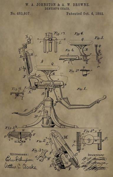 Chair Mixed Media - Antique Dental Chair Patent by Dan Sproul
