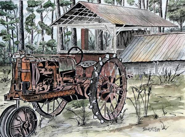 Homestead Drawing - Antique Farm Tractor   by Derek Mccrea