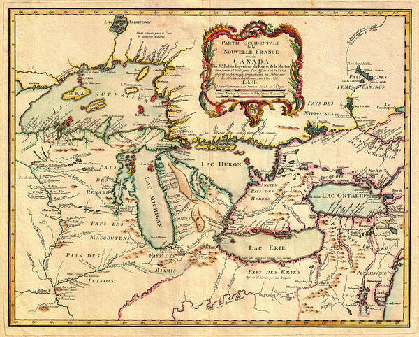 Collectible Art Drawing - Antique French Map Of The Great Lakes 1755 by Mountain Dreams