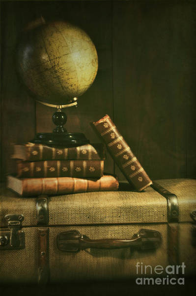 Photograph - Antique Globe With Books And Suitscase by Sandra Cunningham