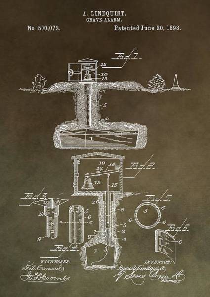 Mixed Media - Antique Grave Alarm Patent by Dan Sproul