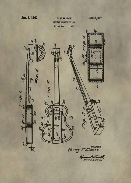Wall Art - Digital Art - Antique Guitar Patent by Dan Sproul