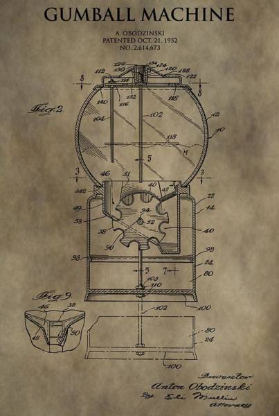 Change Mixed Media - Antique Gumball Machine Patent by Dan Sproul