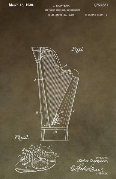 Harp Digital Art - Antique Harp Patent by Dan Sproul