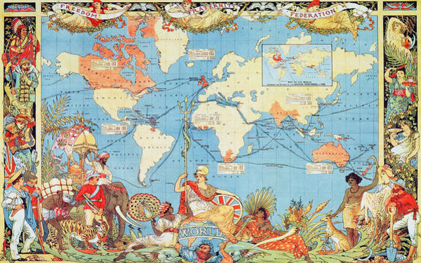 Native Drawing - Antique Illustrated Map Of The World by Anonymous