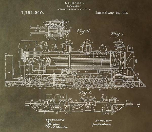 Digital Art - Antique Locomotive Patent by Dan Sproul