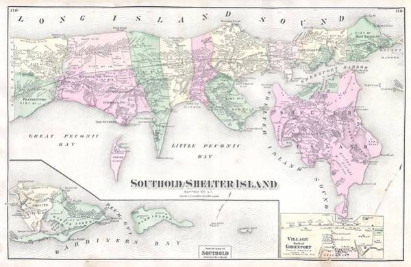 Big Island Digital Art - Antique Long Island Map by Dan Sproul