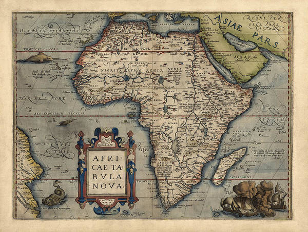 Flag Drawing - Antique Map Of Africa By Abraham Ortelius - 1570 by Blue Monocle