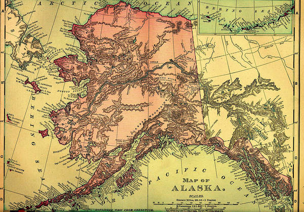 Collectible Art Drawing - Antique Map Of Alaska 1895 by Mountain Dreams