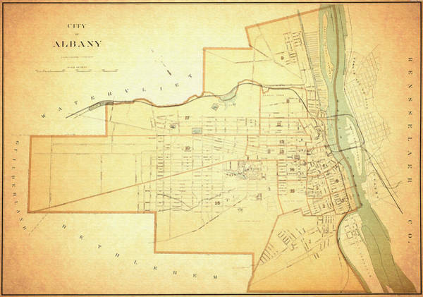 New York City Map Drawing - Antique Map Of Albany New York - 1895 by Mountain Dreams